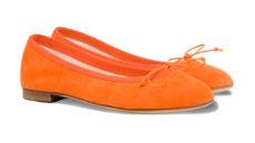 ballerine arancioni in camoscio a punta