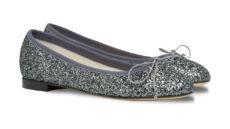 ballerine argento in tessuto a punta tonda