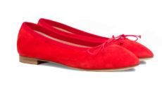 ballerine rosse in camoscio a punta tonda