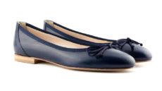 ballerine blu in nappa a punta