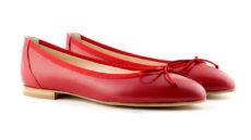 ballerine rosse in nappa a punta